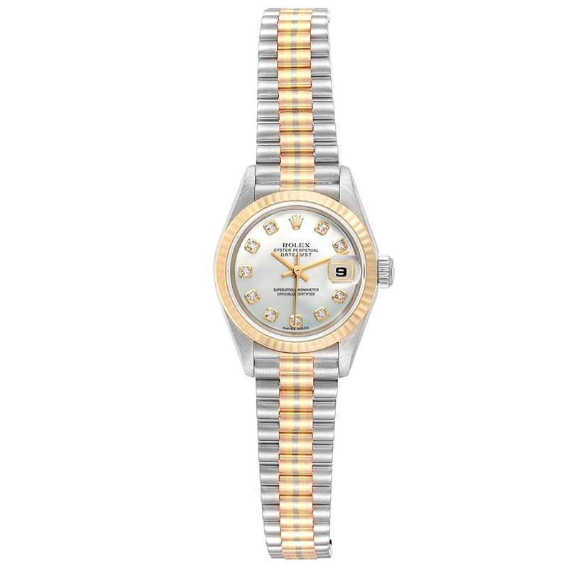 Rolex MOP Diamonds 18K Yellow Gold President Datejust 69179 Women's Wristwatch 26 MM