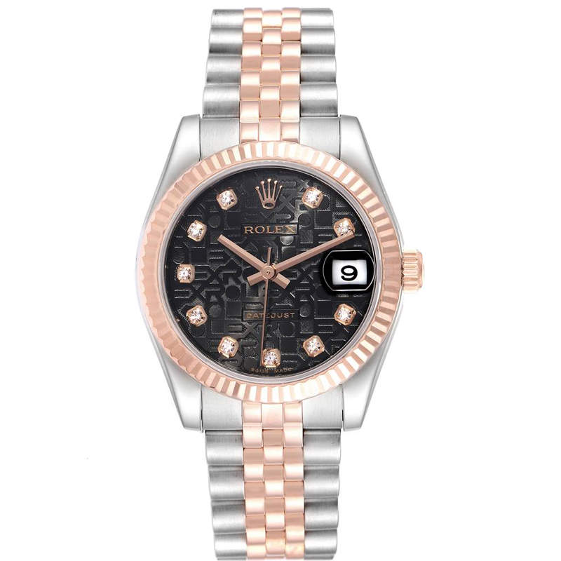 Rolex Black 18K Rose Gold Diamond and Stainless Steel Datejust 178271 Women's Wristwatch 31MM
