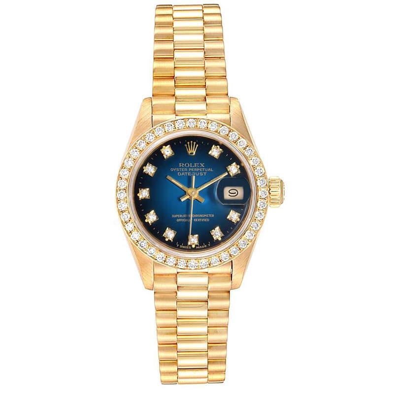 Rolex Blue Vignette Diamonds 18K Yellow Gold President 69138 Women's Wristwatch 26 MM