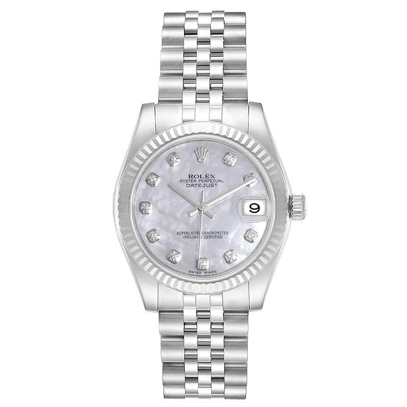 Rolex MOP 18K White Gold and Stainless Steel Diamond Datejust 178274 Women's Wristwatch 31MM