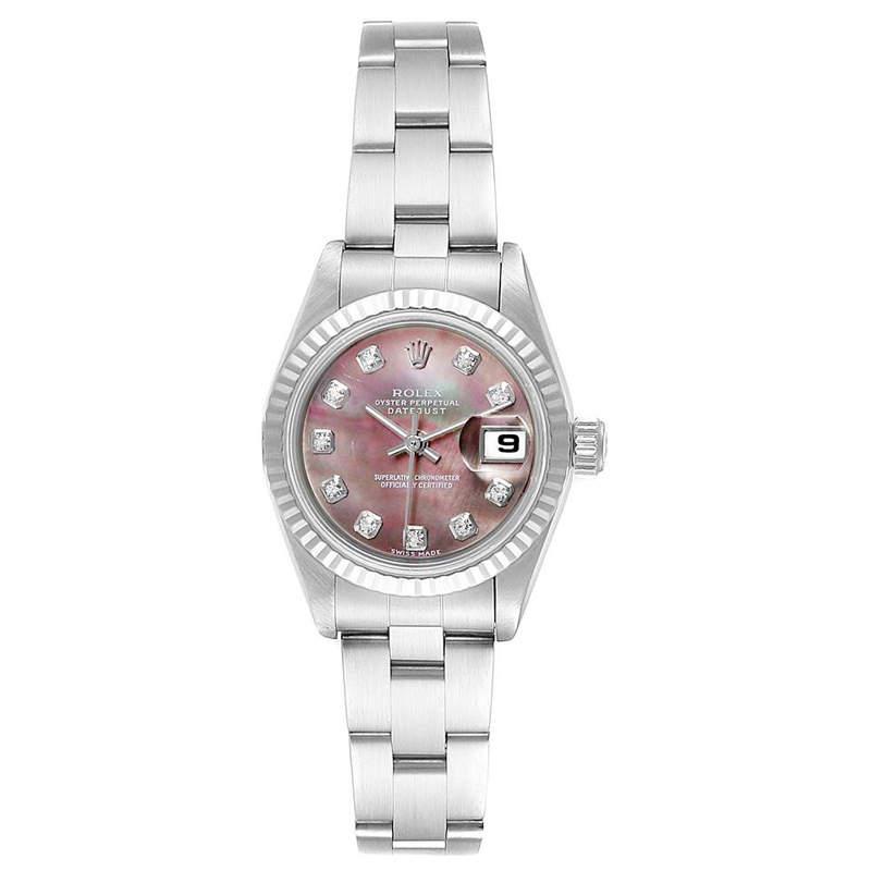 Rolex MOP 18K White Gold and Stainless Steel Diamond Datejust 79174 Women's Wristwatch 26MM