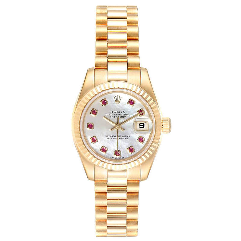 Rolex MOP 18K Yellow Gold Rubies President Datejust 179178 Women's Wristwatch 26MM