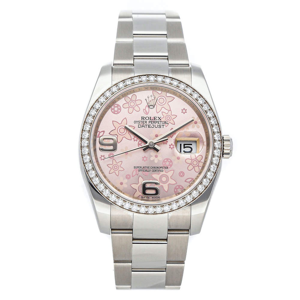 Rolex Pink Diamonds Stainless Steel Datejust 116244 Women's Wristwatch 36 MM