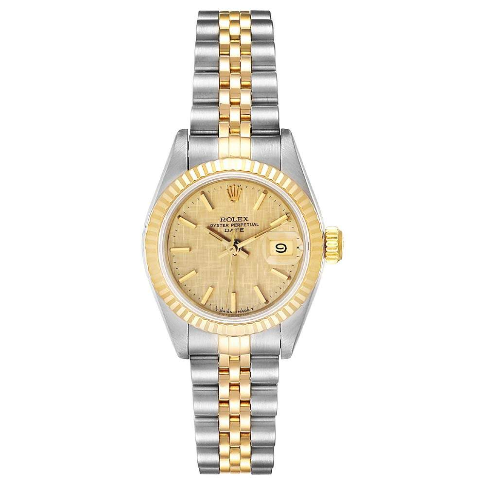 Rolex Champagne Linen 18K Yellow Gold And Stainless Steel Datejust 69173 Women's Wristwatch 26 MM