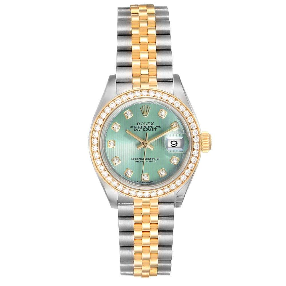 Rolex Green Diamonds 18K Yellow Gold And Stainless Steel Datejust 279383 Unworn Women's Wristwatch 28 MM