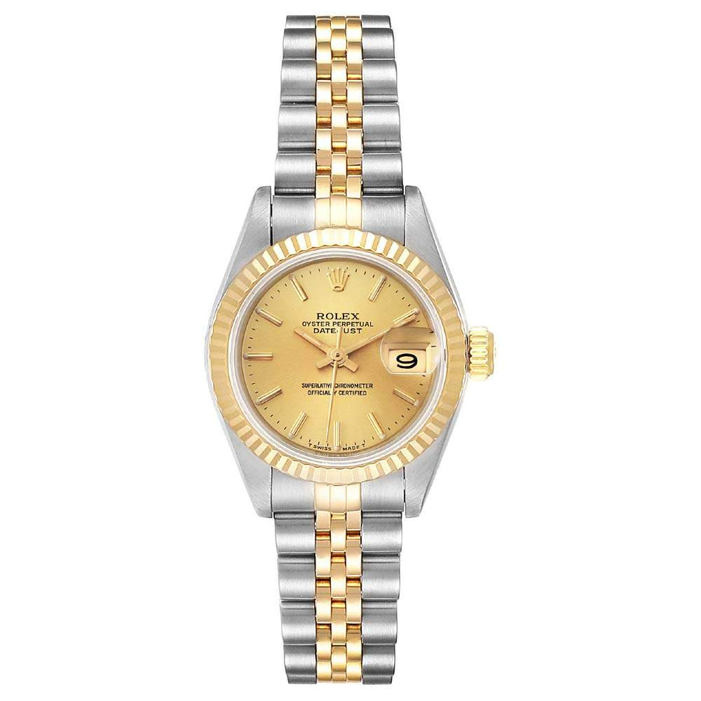 Rolex Champagne 18K Yellow Gold And Staiinless Steel Datejust 69173 Women's Wristwatch 26 MM