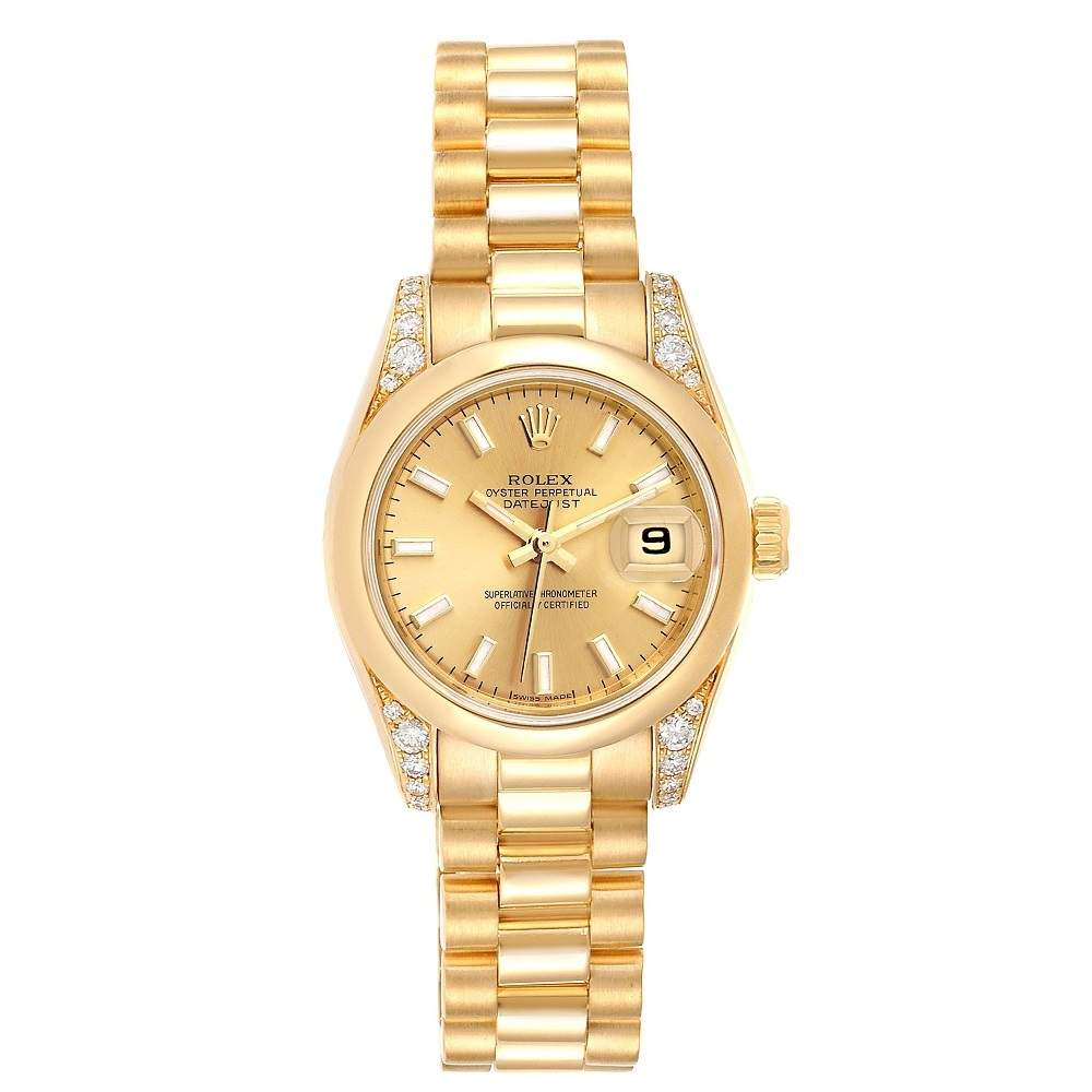 Rolex Champagne Diamonds 18K Yellow Gold President Crown Collection 179298 Women's Wristwatch 26 MM