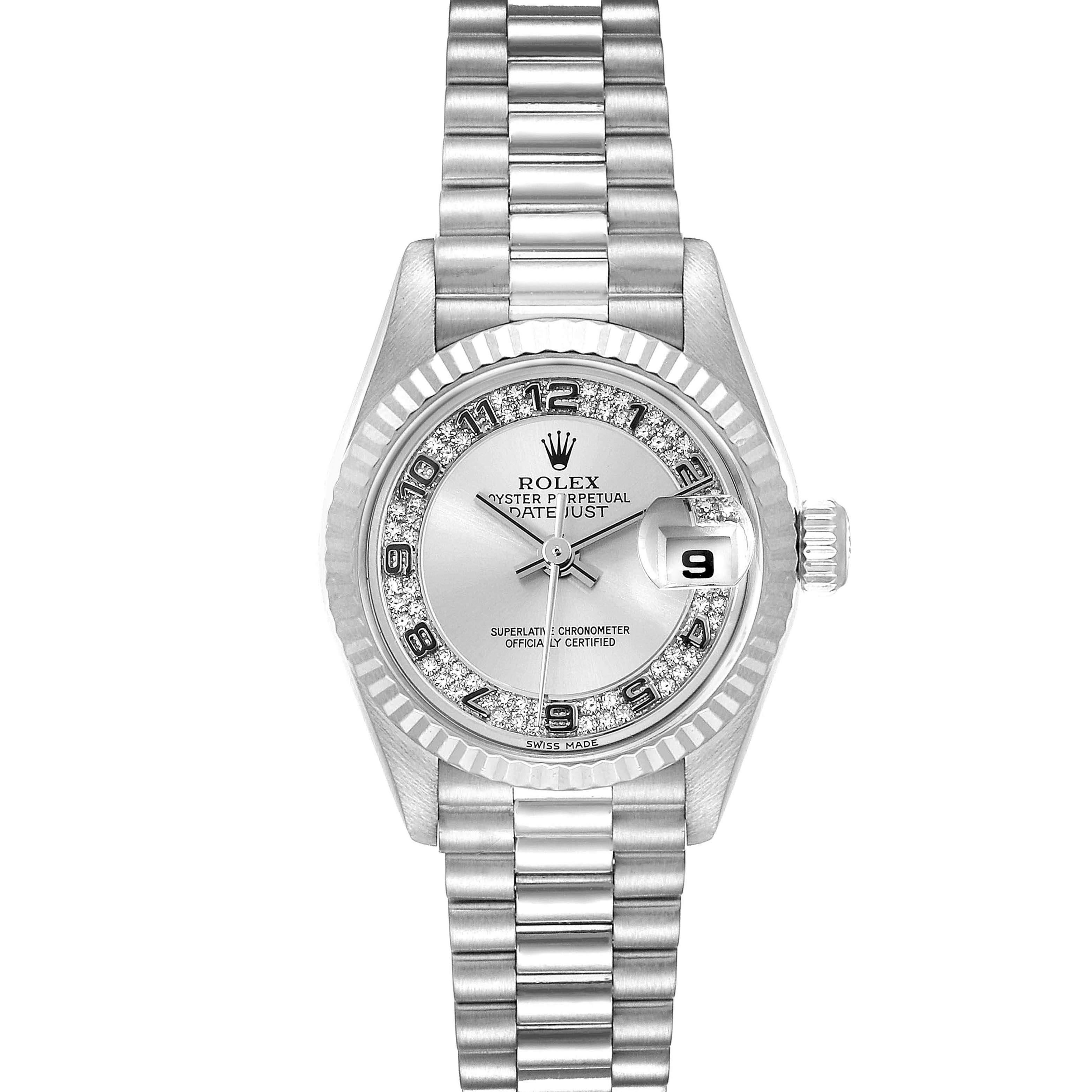 Rolex Silver Diamonds 18K White Gold President Myriad 69179 Women's Wristwatch 26 MM