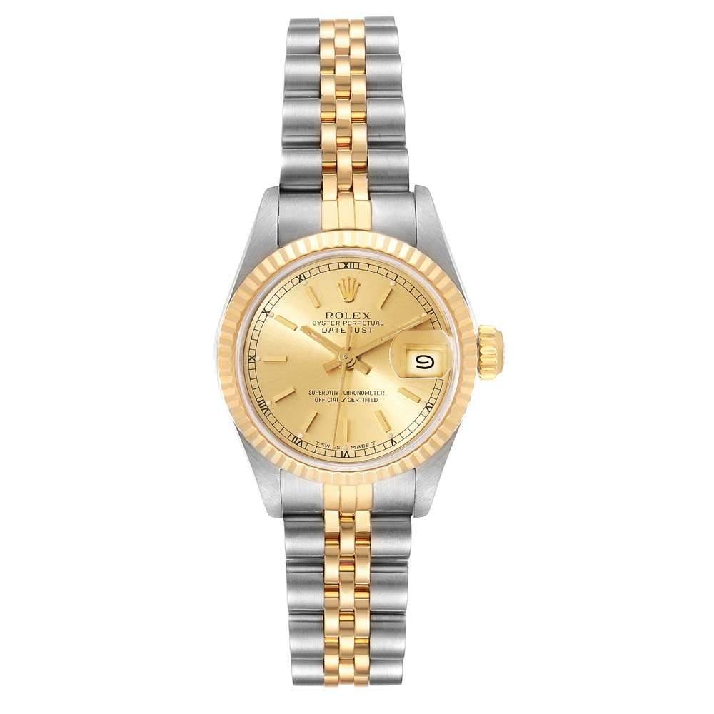 ساعة يد نسائية رولكس  ديتجاست 69173 ستانلس ستيل وذهب أصفر عيار 18 بيج فاتحة 26 مم