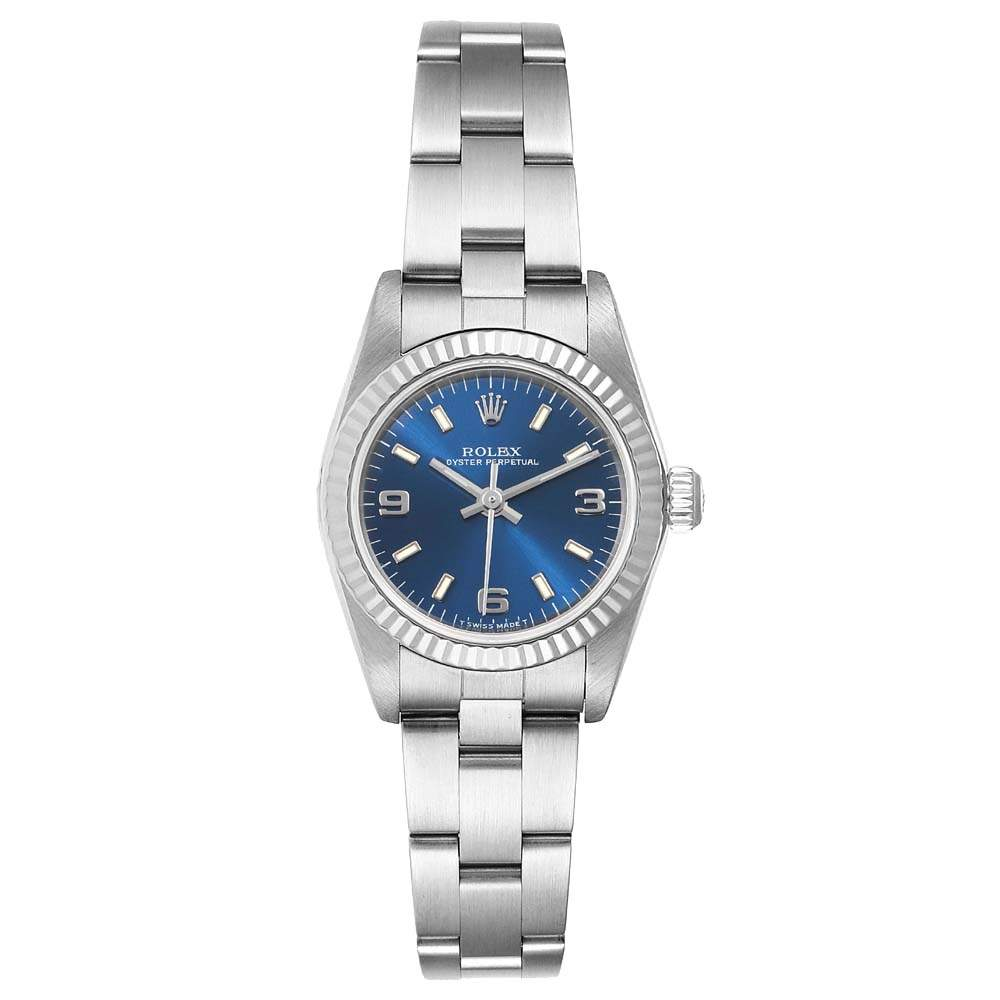 Rolex Blue 18K White Gold And Stainless Steel Oyster Perpetual 76094 Women's Wristwatch 24 MM