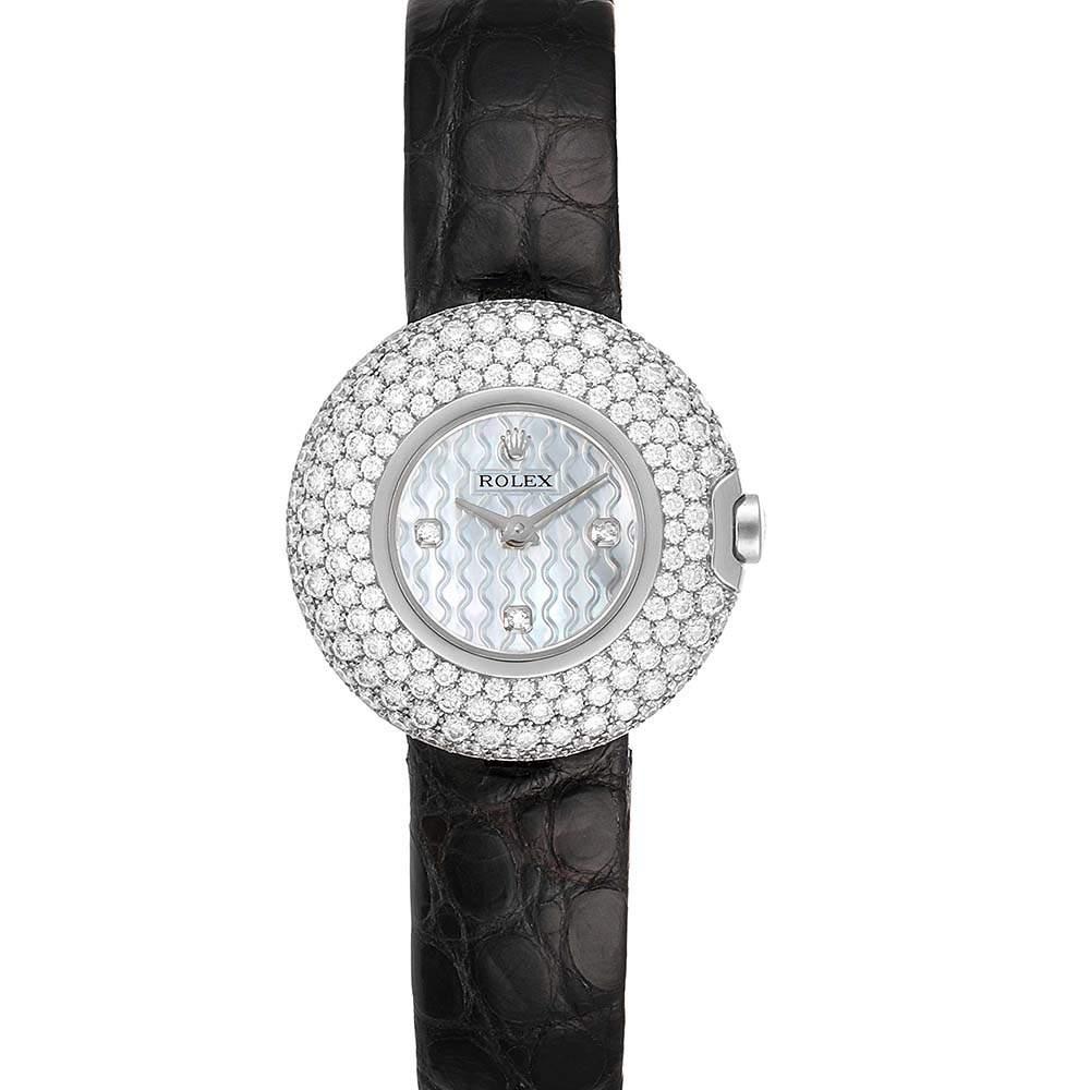 Rolex MOP Diamonds 18K White Gold Cellini Orchid 6201 Women's Wristwatch 23 MM