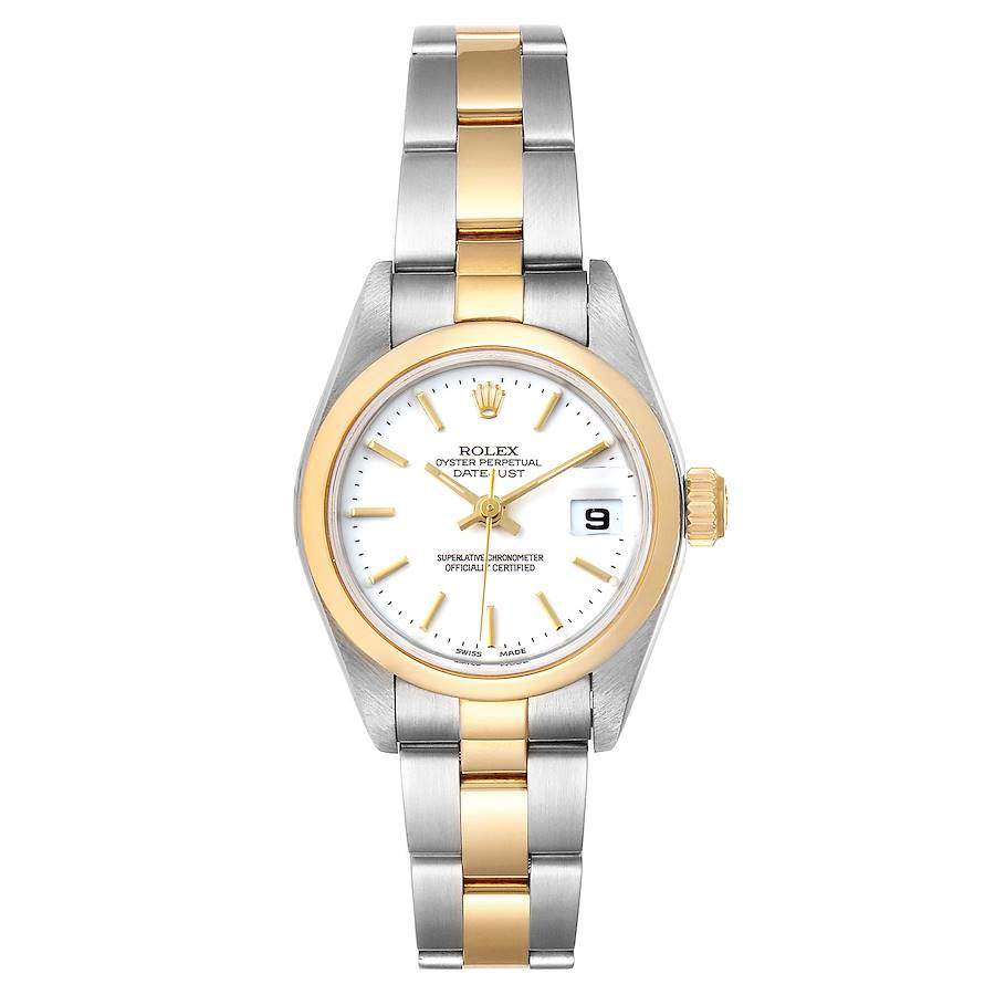 ساعة يد نسائية رولكس ديت جست 79163 ستذهب أصفر عيار 18 ستانلس ستيل بيضاء 26مم