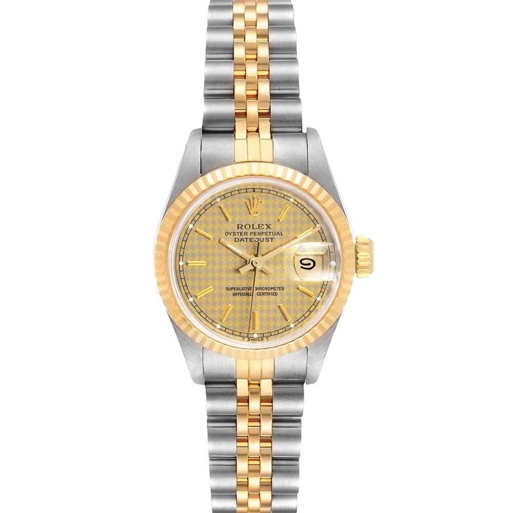 ساعة يد نسائية رولكس ديت جست 69173 ستانلس ستيل وذهب أصفر عيار 18 شامبانيا 26مم