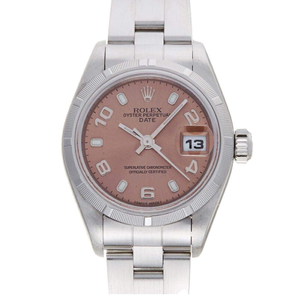 Rolex Pink Stainless Steel Oyster Perpetual Date 79190 Women's Wristwatch 26 MM
