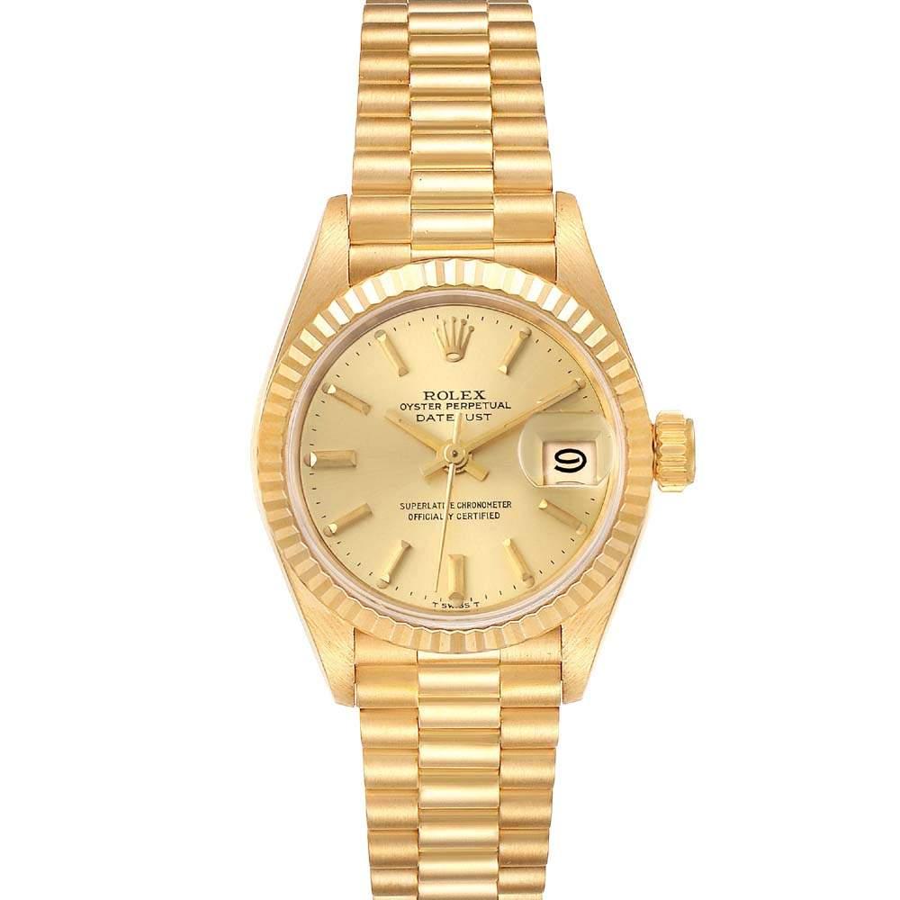 ساعة يد نسائية رولكس بريزدنت ديت جست 69178 ذهب أصفر عيار 18 شامبانيا 26 مم