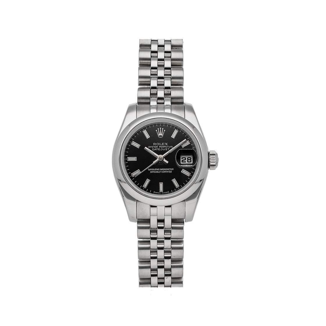 ساعة يد نسائية رولكس ديت جست 179160 ستانلس ستيل سوداء 26 مم