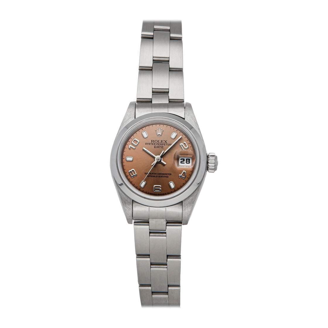 ساعة يد نسائية رولكس أويستر بيربيتوال ديت 69160 ستانلس ستيل وردية 26 مم
