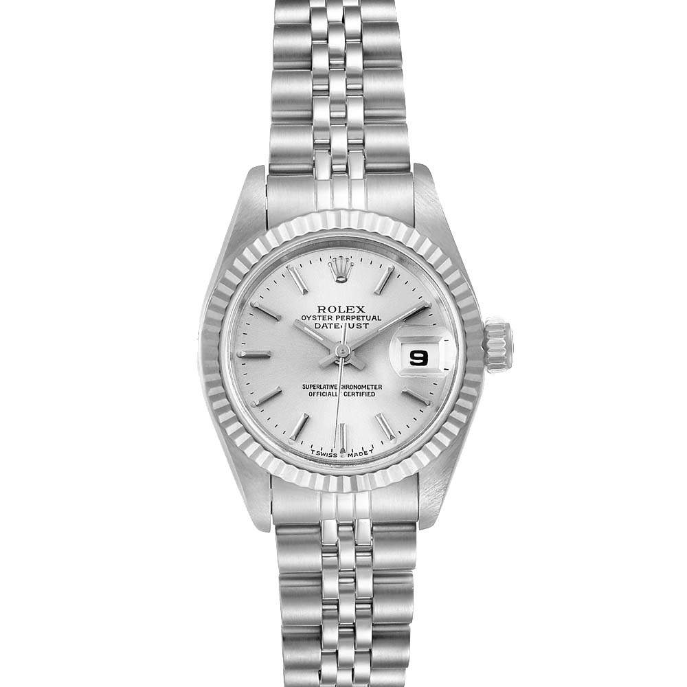 ساعة يد نسائية رولكس دايتجست 69174 ستانلس ستيل و ذهب أبيض عيار 18 فضية 26 مم