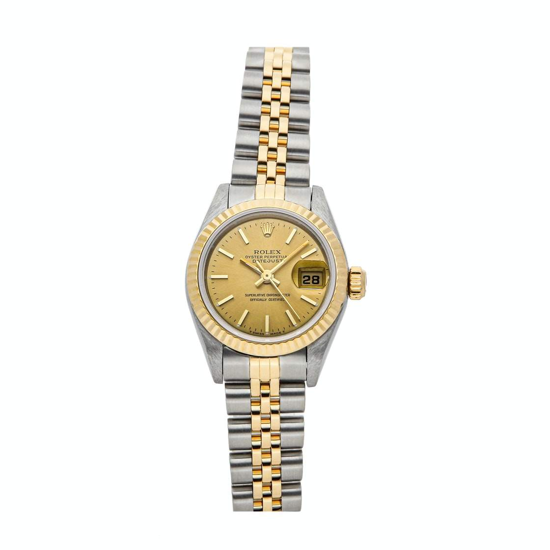 ساعة يد نسائية رولكس ديتجاست ستانلس ستيل وذهب أصفر عيار 18 بيج فاتحة 26 مم