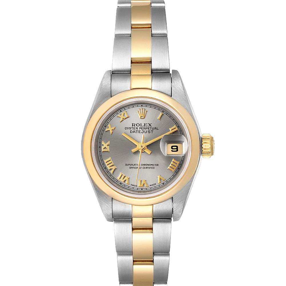 Rolex Slate 18K Yellow Gold And Stainless Steel Datejust 79163 Women's Wristwatch 26 MM