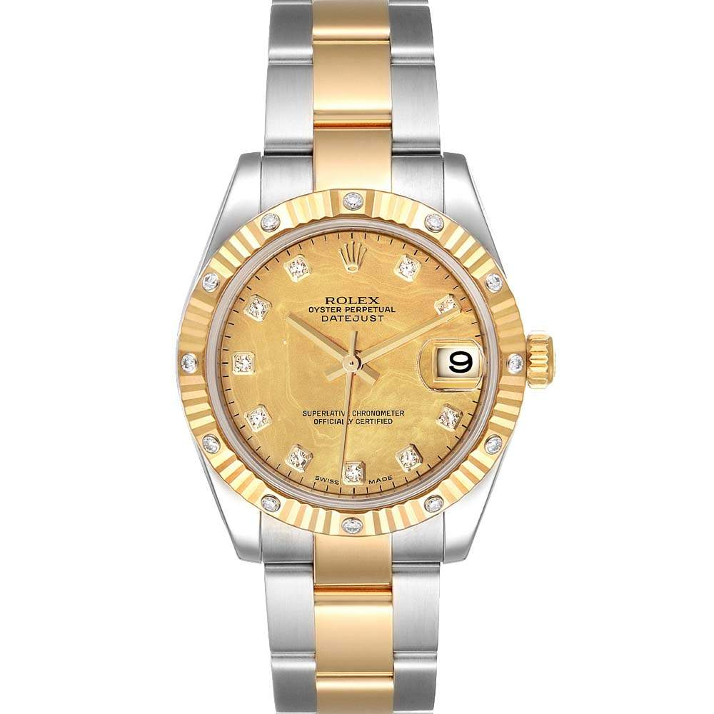 Rolex Champagne Diamonds 18K Yellow Gold And Stainless Steel Datejust 178313 Automatic Women's Wristwatch 31 MM