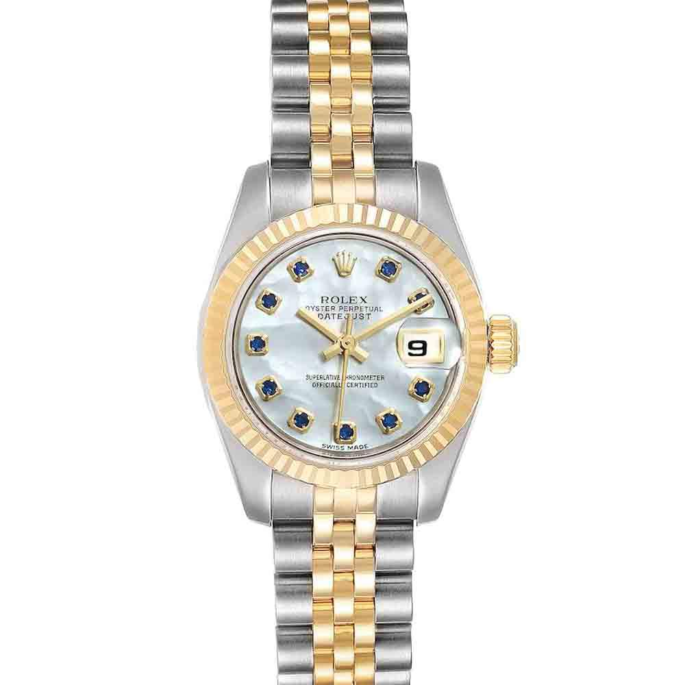 Rolex MOP Saphire 18K Yellow Gold And Stainless Steel Datejust 179173 Women's Wristwatch 26 MM