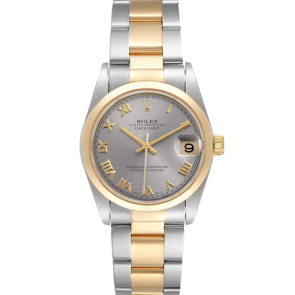 Rolex Grey 18K Yellow Gold And Stainless Steel Datejust 78243 Women's Wristwatch 31 MM
