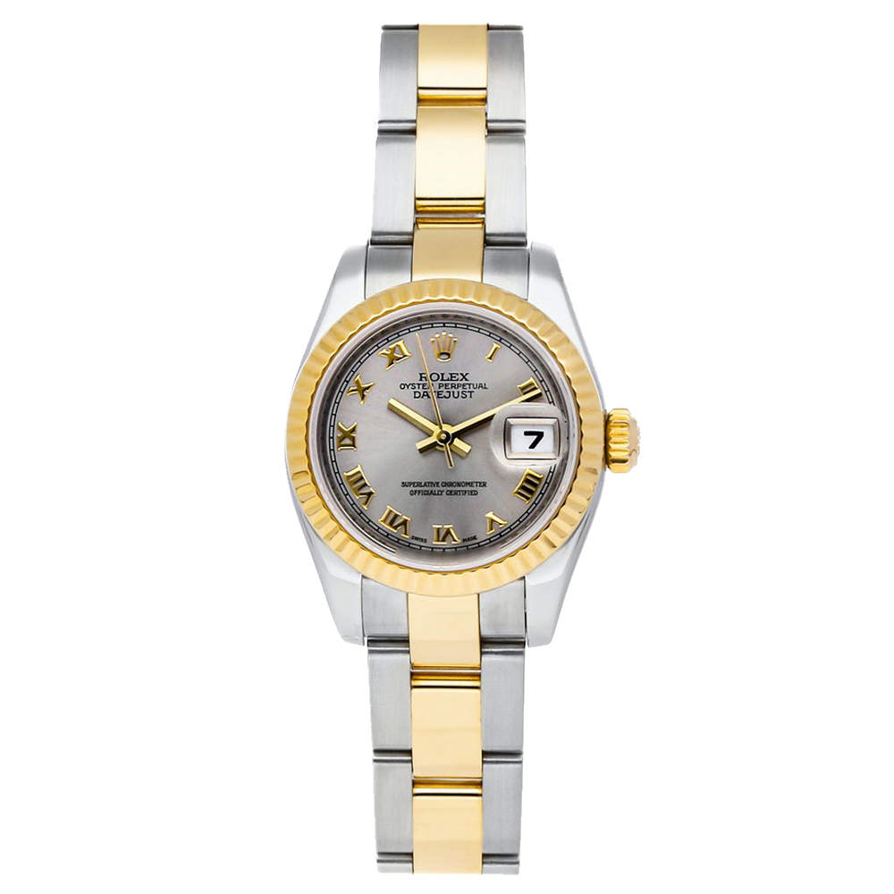 Rolex Grey 18K Yellow Gold And Stainless Steel Datejust 179173 Women's Wristwatch 26 MM