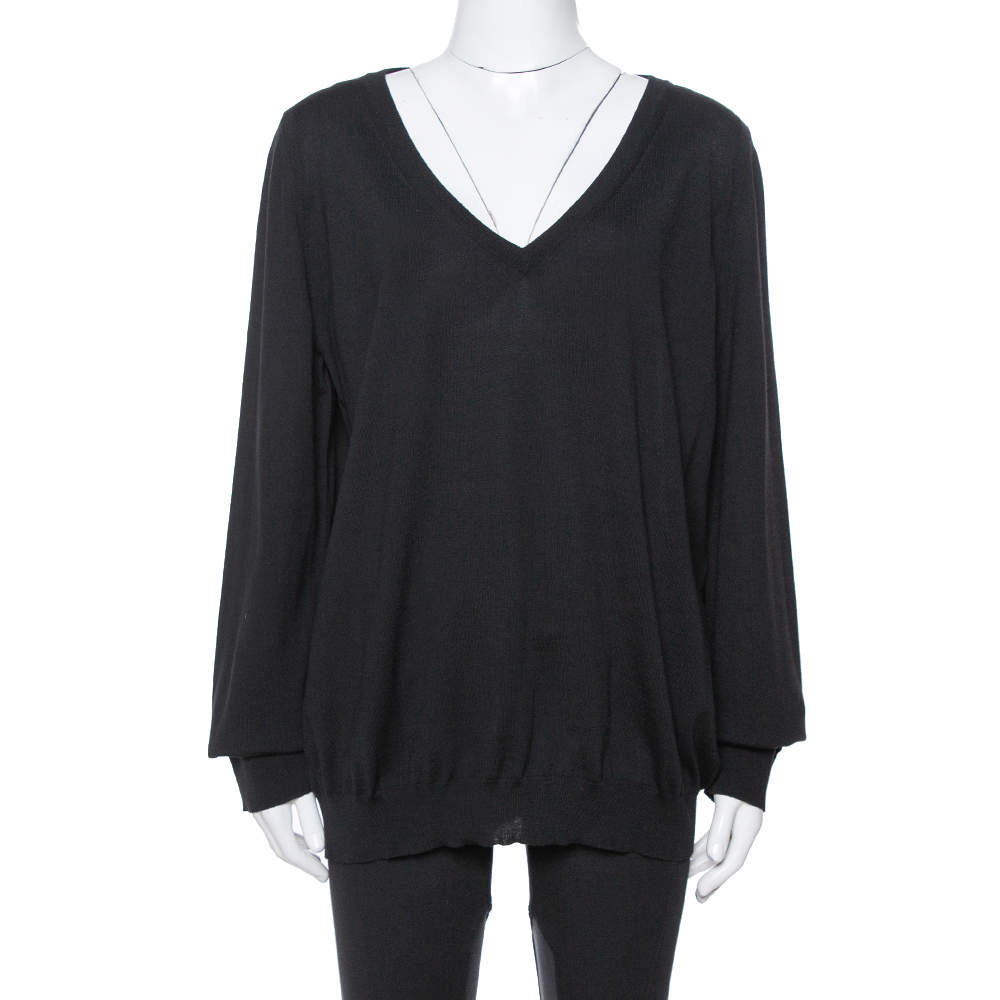 Saint Laurent Paris Black Wool V-Neck Sweater XXL