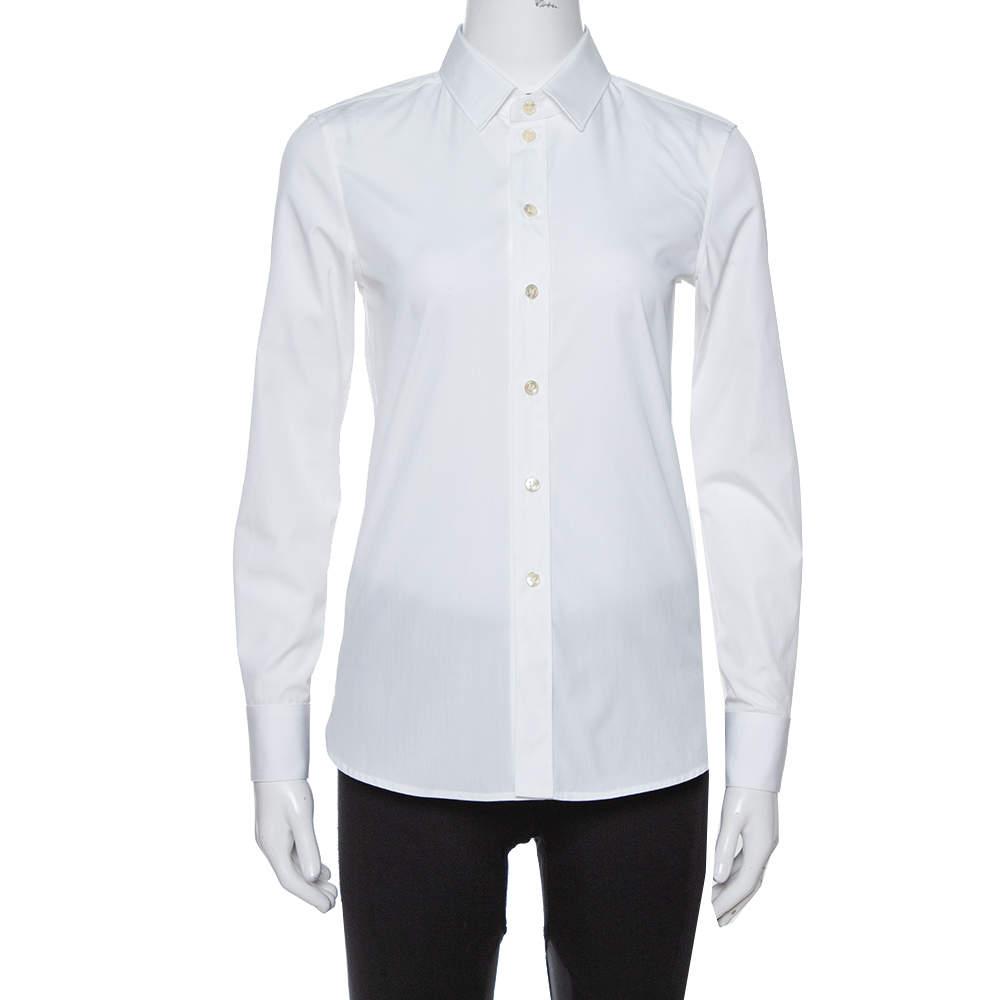 قميص سان لوران باريس أزرار أمامية قطن أبيض S