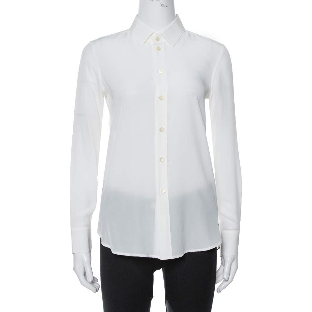قميص سان لوران باريس أزرار أمامية حرير بيج فاتح S