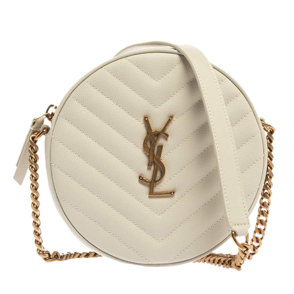 Saint Laurent Off White Leather Round Vinyle Crossbody Bag