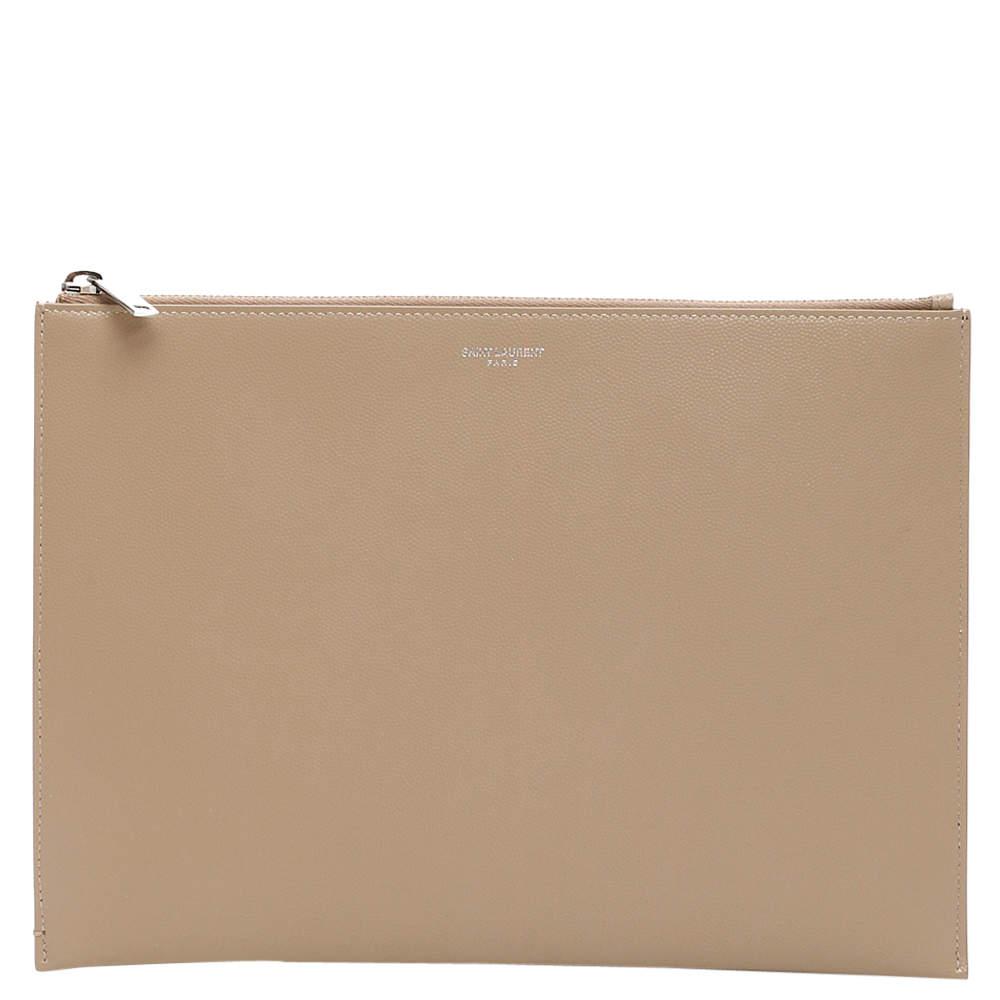 Saint Laurent Beige Leather Clutch Bag