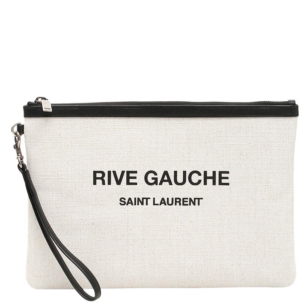 Saint Laurent White Canvas Rive Gauche Clutch Bag