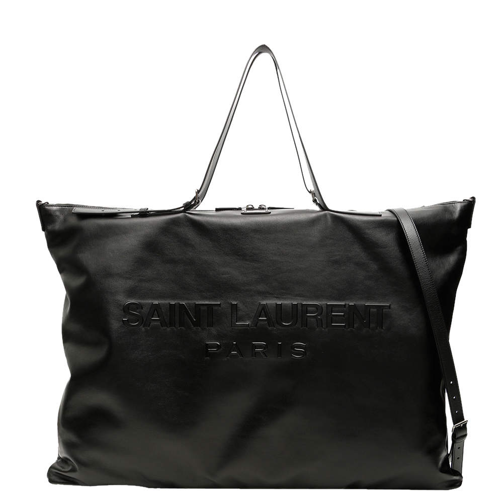 Saint Laurent Black Leather Convertible ID Tote Bag