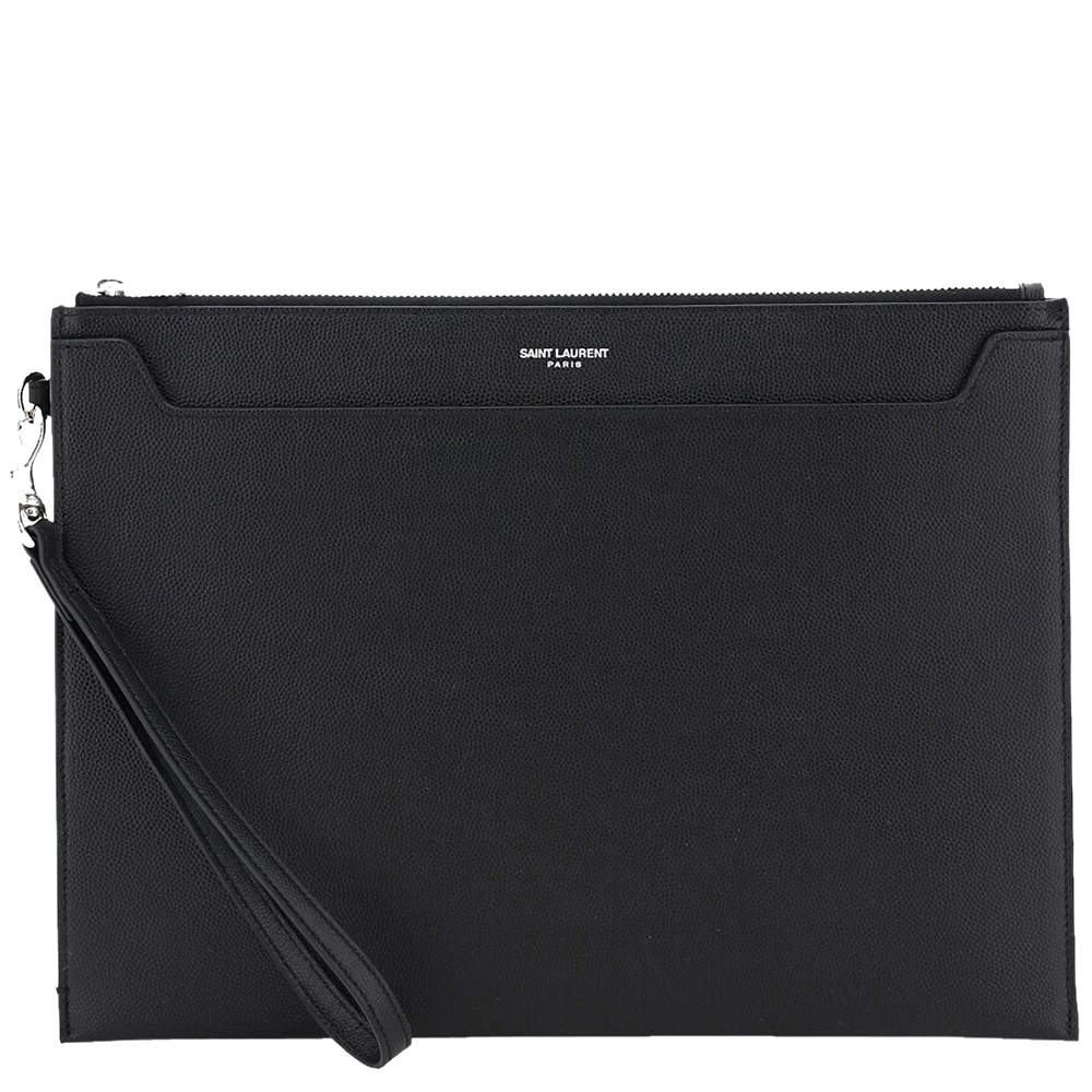 Saint Laurent Black Leather Catherine Tablet Holder Clutch