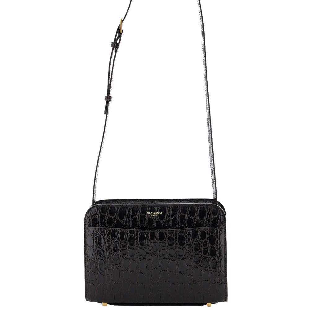 Saint Laurent Black Embossed Leather Reversed Bag