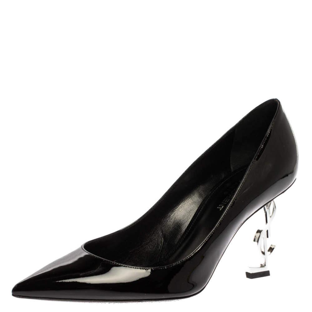 Saint Laurent Paris Black Patent Leather Opyum Pointed Toe Pumps Size 38.5