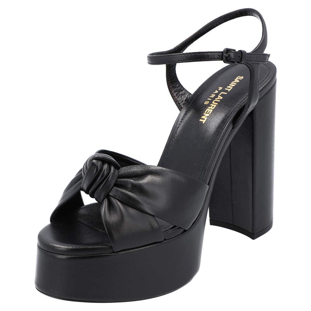 Saint Laurent Black Leather Bianca Sandals Size EU 38.5