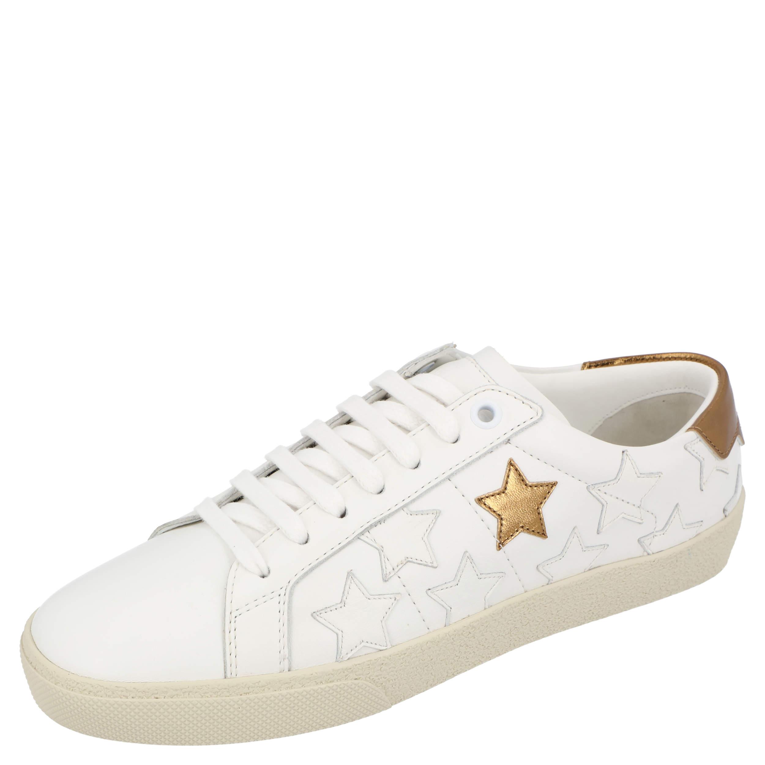 Saint Laurent White/Metallic Brown Star Court Classic Calfornia Sneakers Size EU 38