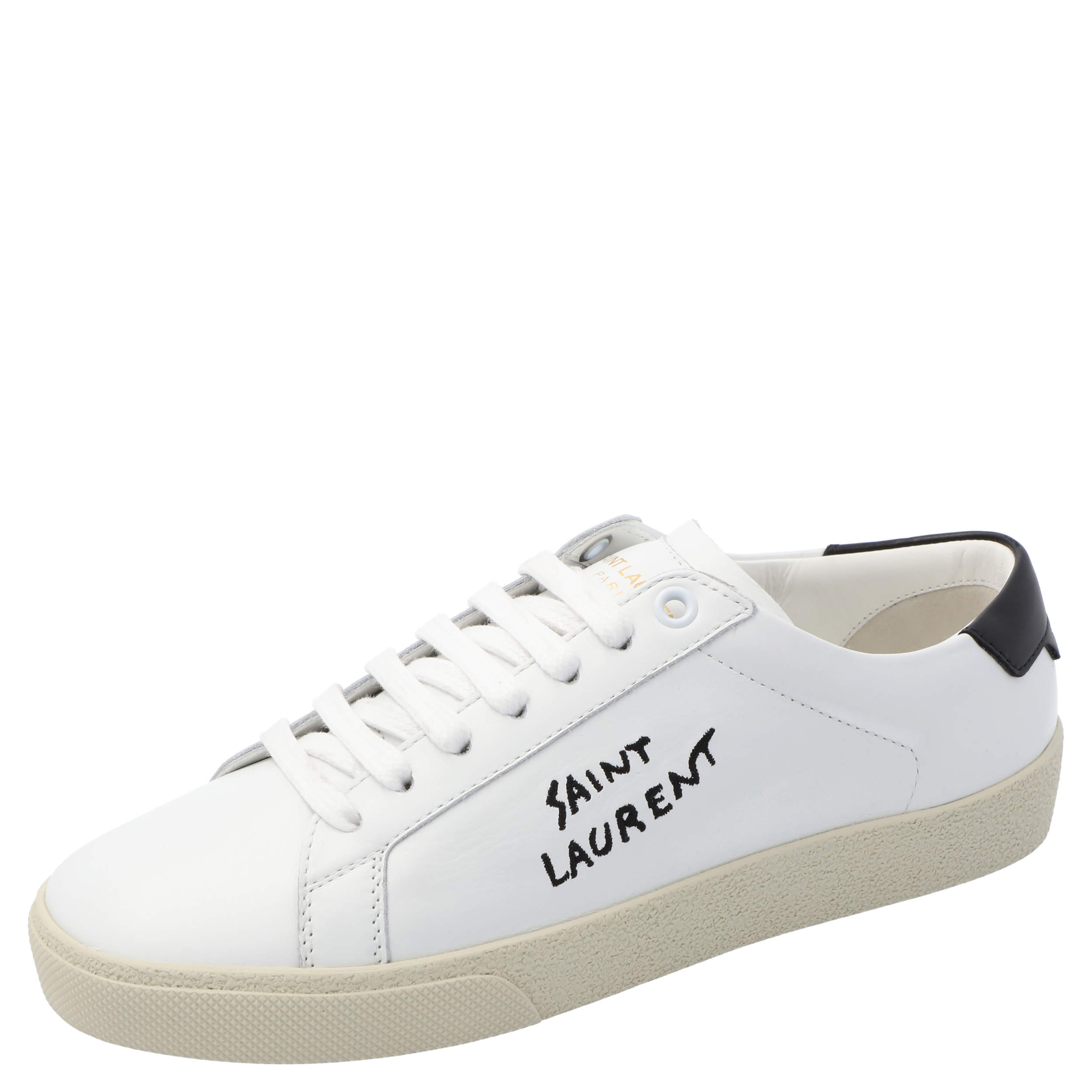 Saint Laurent White Leather SL/06 Embroidered Court Classic Sneakers Size EU 37