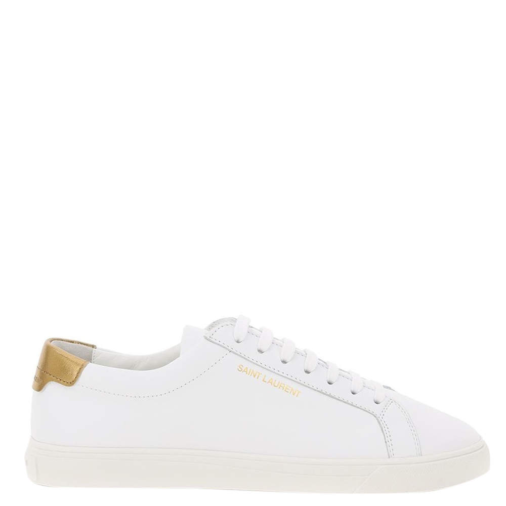 Saint Laurent White/Gold Leather Andy Sneaker Size IT 35