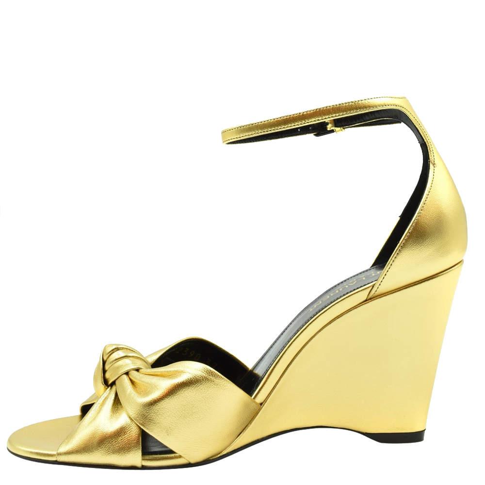 Saint Laurent Paris Metallic Gold Lila Wedge Sandals Size EU 40