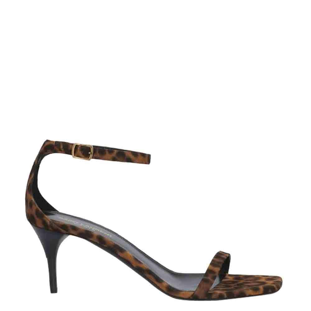 Saint Laurent Paris Leopard-Print Suede Lexi Ankle-Strap Sandals Size EU 35.5