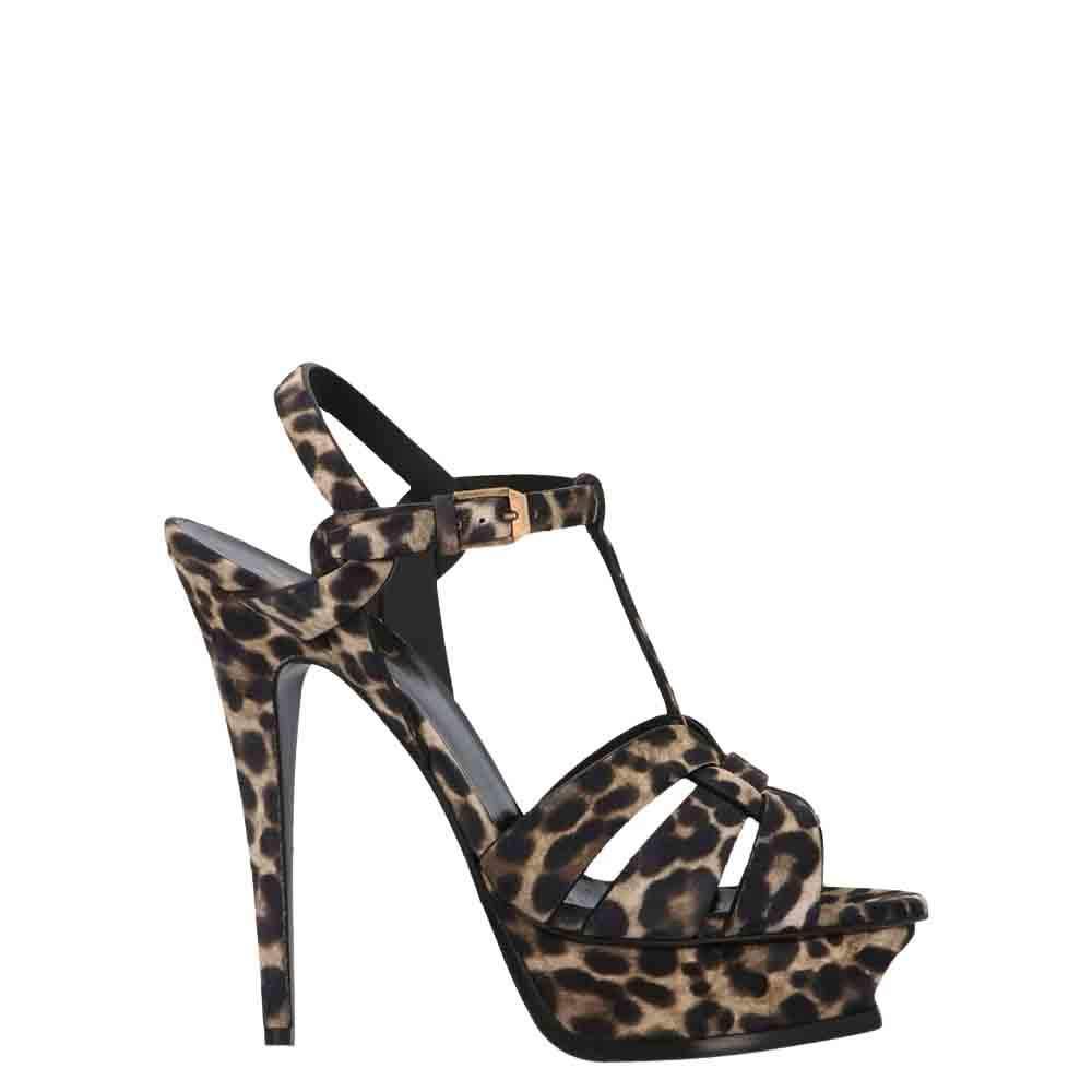 Saint Laurent Paris Leopard Print Tribute Sandals Size EU 38.5