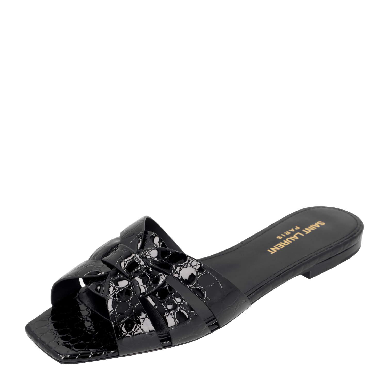 Saint Laurent Paris Black Patent Leather Tribute Flats EU 36