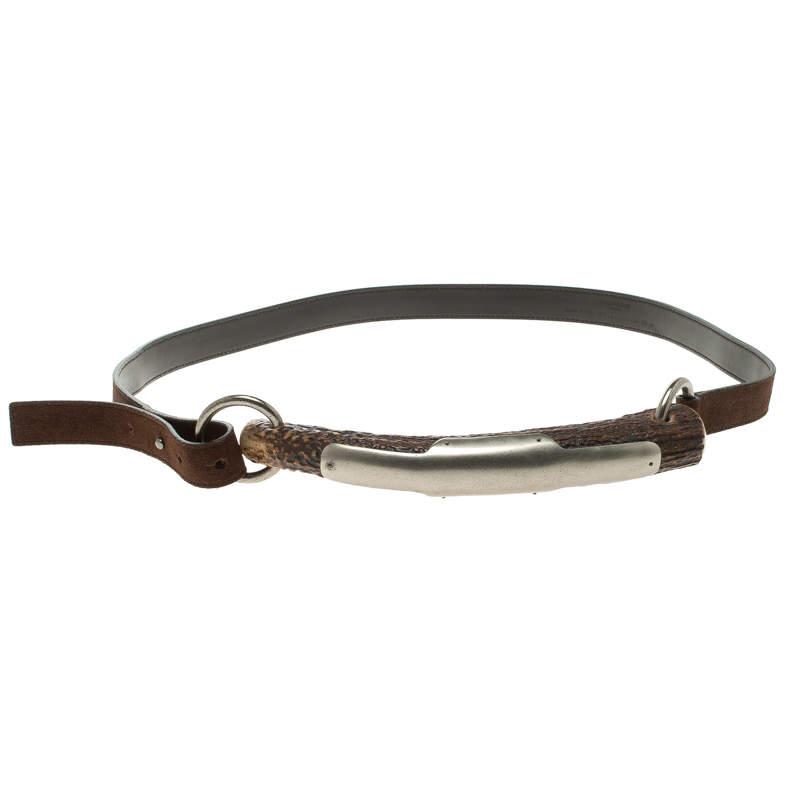 Saint Laurent Paris Brown Leather Horn Bag Shoulder Strap