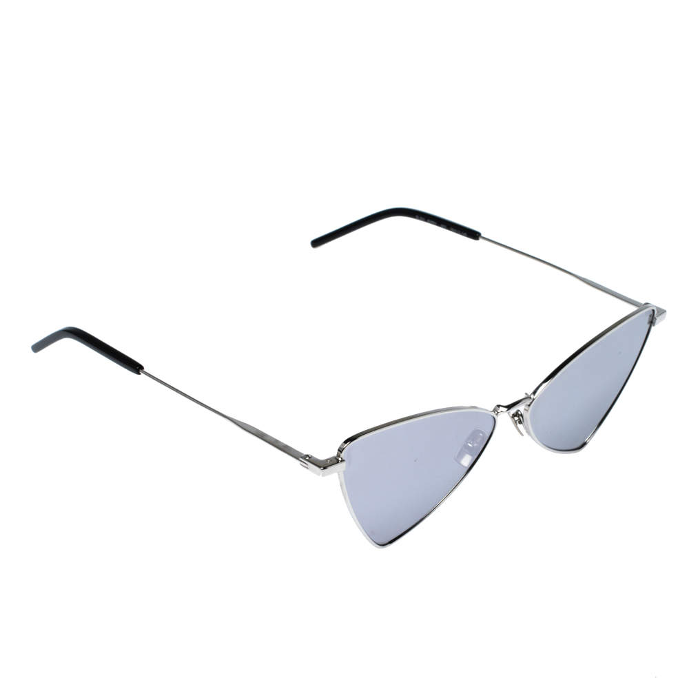 Saint Laurent Paris Silver /Silver Mirrorred Jerry 003 Cat Eye Sunglasses