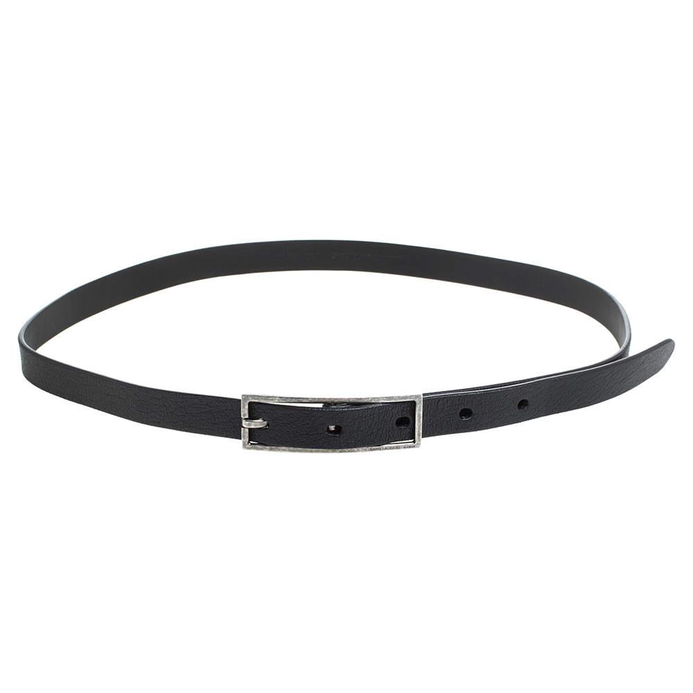 Saint Laurent Paris Black Leather Skinny Belt Size 80 CM
