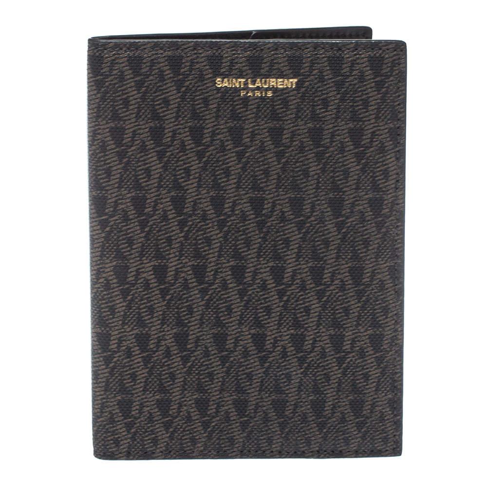Saint Laurent Black/Brown Monogram Coated Canvas Passport Holder